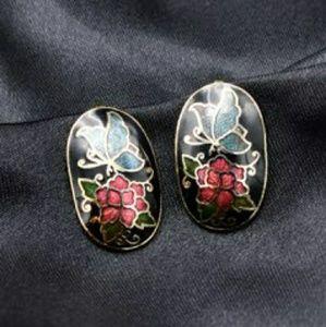 Oval Vintage Butterfly & Flower Cloisonne Earrings
